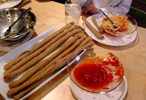 Breadsticks on table