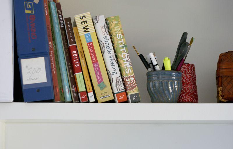 Sewing books shelf