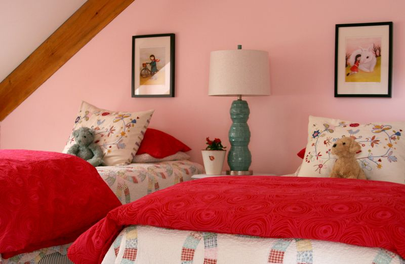 Girls room bed wall prints